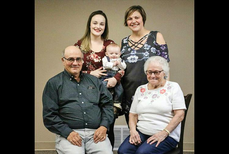 Five generations of the Morigeau family posed for a photo in early February. Seated from left is David Morigeau with his mother, Theresa Morigeau. Standing in the back is granddaughter Claire Frank with great-grandson Aiden Frank and daughter Tracy Morigeau Frank.