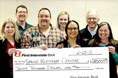 First Interstate Bank recently donated $20,000 for laboratory upgrades in SKC's Hydrology Department. Pictured from back left are: Shad Hupka, First Interstate Bank Polson; Molly Stammer, Hydrology Senior; Dave Dittman, First Interstate Bank Whitefish President;(front) Audrey Plouffe, SKC Vice President of Business Affairs; Dr. Antony Berthelote, SKC Hydrology Department Head; Francine Dupuis, SKC Foundation Board Chair; Janene Lichtenberg, SKC Wildlife and Fisheries Department Head.