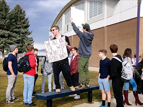 Thirty Polson High School students walked out of a school assembly and gathered together to remember the victims of the Feb. 14 school shooting in Florida.