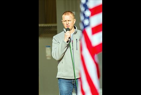 Shodown's lead vocalist Matthew Brown sings the national anthem.