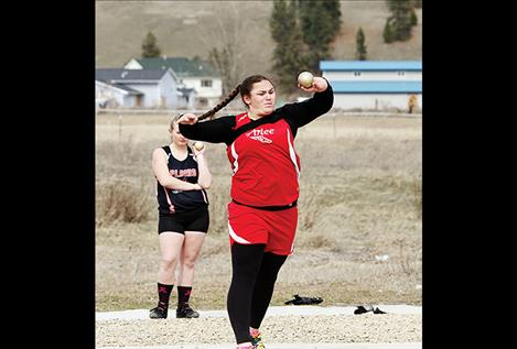 Arlee's Peyton Lammerding throws in the shot put at Frenchtown on March 29. Her best throw of 33 feet 10 inches earned her third place.