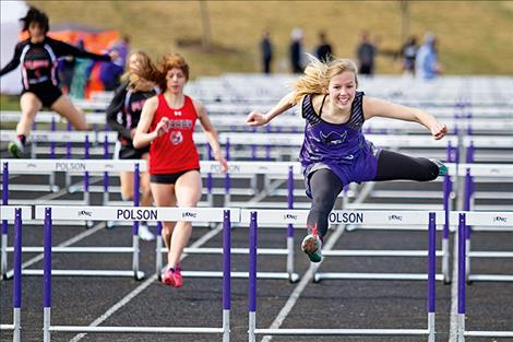 Charlo Viking Carlee Fryberger outruns everyone during the hurdles.