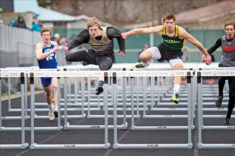 Polson Pirate Connor Lanier focuses on the last hurdle during the Kalispell Mini-Invitational on April 10.
