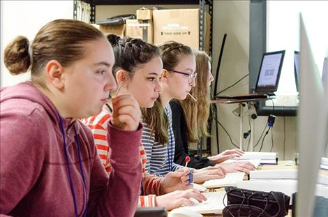 KAren PEterson/Valley JOurnal A group of girls learn coding skills during one of the ChickTech workshops.