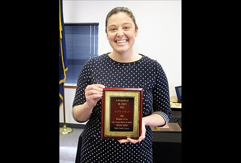 Dr. Emily Hall has been awarded the 2018 Virginia Reber Public Health Award. The award honors individuals who further public health principles in Lake County or the Flathead Reservation.