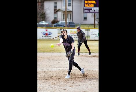Polson Lady Pirate Vanessa Kent fires off a pitch.