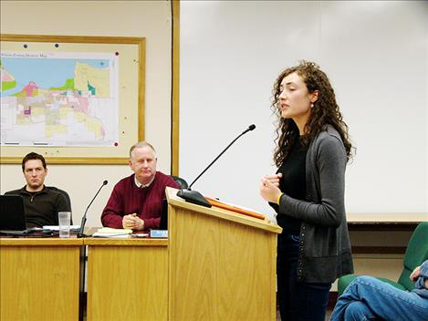 Jordan Broussard, a member of the family that owns the Boardwalk Cafe, speaks to the  Polson City Commission.
