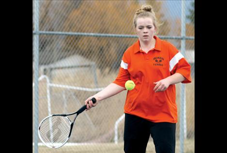 No. 1 girls' singles player Sarah Anderson concentrates during her match against Mission's Kayla Billette two weeks ago.