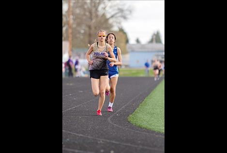Polson Lady Pirate Molly Sitter and Mission Lady Bulldog Karolyna Buck battle it out during the 1600.