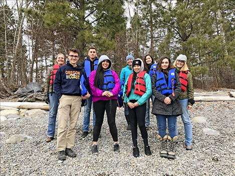 SKC STEM Academy students stand with staff at the Flathead Lake Biological Station at Yellow Bay.