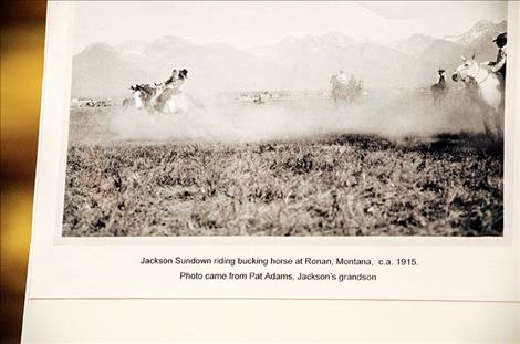 "A page from his book  ""Jackson Sundown"" shows the legend  competing in Ronan in 1915."