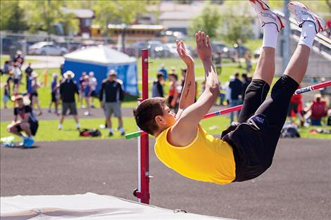 Polson Pirate Asa Askin makes an attempt during the high jump.
