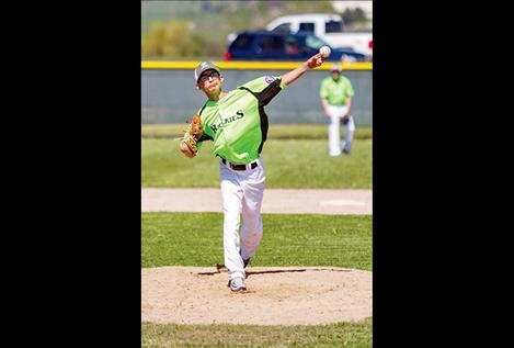 Pitcher Nathan Plant delivers a pitch during the Rockies game against  Cranbrook on Saturday.