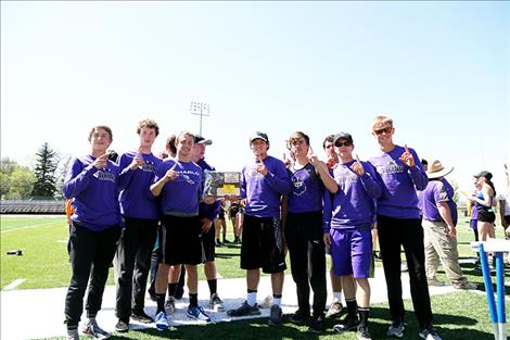 The Charlo Vikings track team poses with their first place district 14C trophy.
