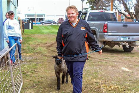 Jackson Davis, Round Butte Future Stockmen 4-H member, leads his market lamb, Storm, to be weighed.