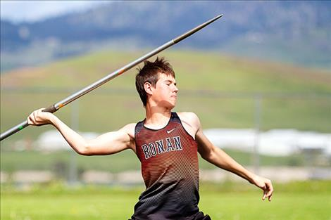 Ronan Chief Dylan Kelch prepares to throw the javelin.