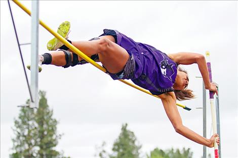 Charlo Lady Viking Tyrah Hammond wins the pole vault.