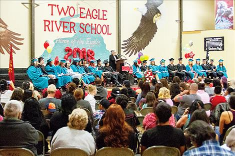 Keynote speaker Judi Gibbs talks to the Two Eagle River Class of 2018 and audience.