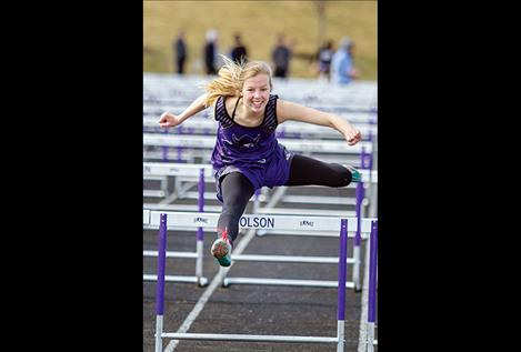 Charlo Lady Viking freshman Carlee Fryberger finishes second in the 100-meter hurdles at the Class C state tournament.