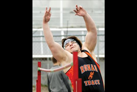 St. Ignatius senior Barret Sargent takes a turn at the high jump at the Ronan Invitational March 28.
