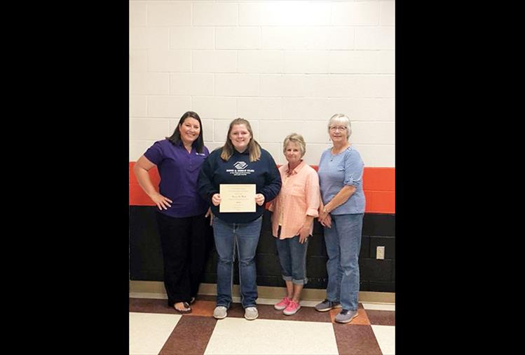 Marissa Mock of Ronan is the 2018 recipient of the $500 P.E.O. Chapter BS scholarship. Shawn Kenelty, Sharon Simpson and Nancy Williams are pictured with Mock. Mock plans to study elementary education at the University of Montana Western in Dillon this fall.