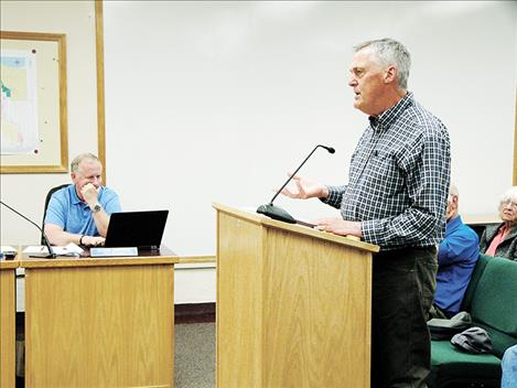 Gayle Siemers, chairman of the Polson Redevelopment Agency, addresses Polson City Commissioners during their last meeting June 18.