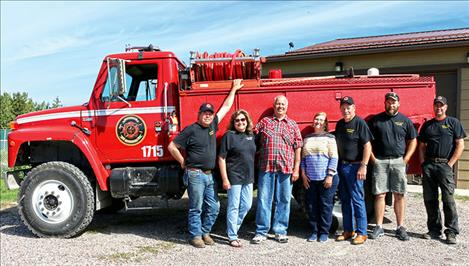 Chief Cliff Volunteer Fire Department and Quick Response Unit members include, from left, Sigurd Jensen, Pres.; Judy Cothern; Jim Edwards, Grantor;  Marie Beck, Grantor; Rick Cothern, Director; Brendeon Schoening, Captain; Andy Learn, Chief.
