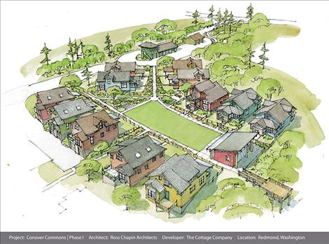 The plans for Ross Chapin's award-winning Conover Commons Cottages in Redwood, Washington.