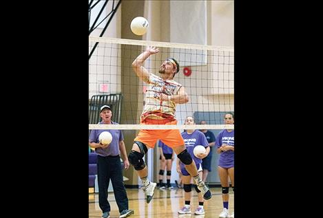 Jame Petersen works on his volleyball skills.