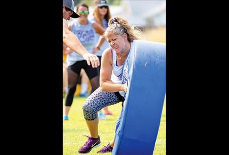 Stephanie Smith works her tackling technique.
