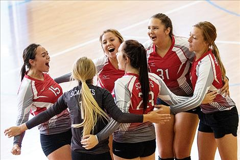 The Arlee Scarlets celebrate a point scored.