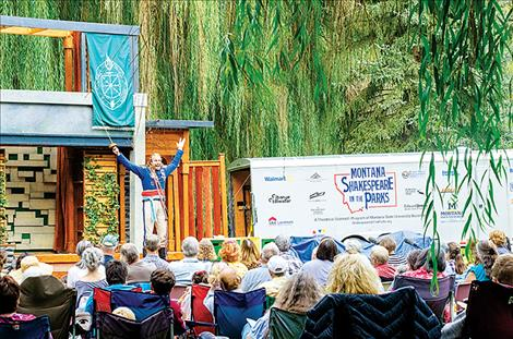 "The character Don Adriano de Armado takes the stage in the Montana Shakespeare in the Parks production of ""Love's Labour's Lost"" in  Charlo on Saturday."
