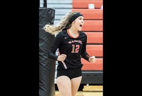 Maiden Madison Clairmont celebrates a score against the Lady Pirates.