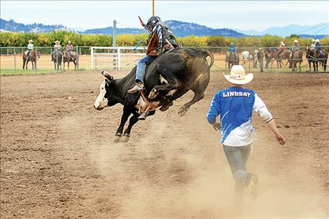 Polson's Gavin Knutson won the bull riding with his 71-point ride.