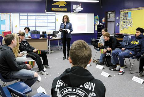 Jane Wolery, a Montana State University Extension agent in Choteau, teaches Power High School students the Youth Aware of Mental Health program last May.