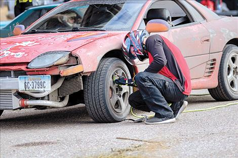 A drift driver makes a pit stop.
