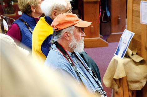 """Frank Tyro addresses the audience on Saturday prior to the showing of """"Walking Bear Comes Home."""""""