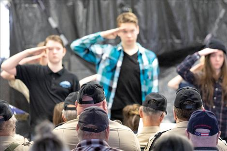 Glacier View School students salute veterans.