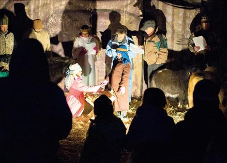 A fairground barn offers the ideal setting for a live nativity at Lights Under the Big Sky.