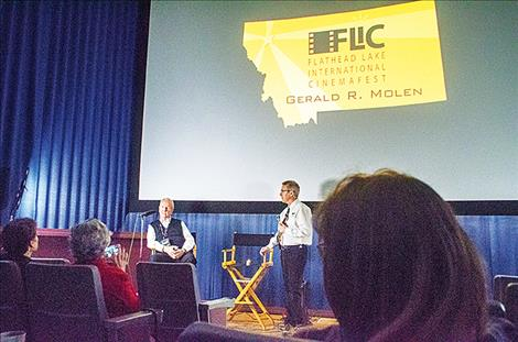 Film producer Gerald R. Molen takes questions from the audience.