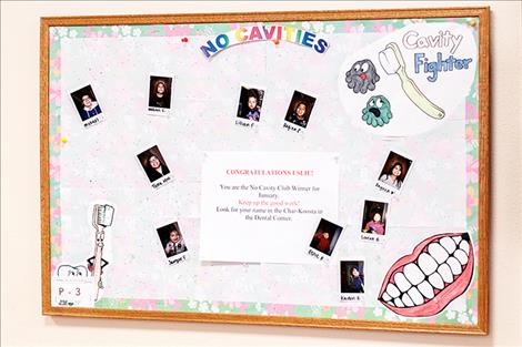 The Polson Tribal Dental Clinic features No Cavity Club winners on the wall in their office.