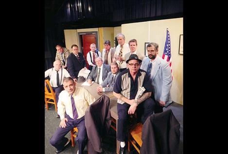 """Jurors in """"12 Angry Men"""" include Bud Davis, seated with newspaper, and Bob DiGiallonardo, Ron Martin-Dent, Jim Siragusa, Steve Alexander, Louis Jepson, Les Lundeen, Jeff Jennison, Nick Marquardt, Neal Lewing, Mike Gillpatrick and Kyle Stinger, clockwise."""