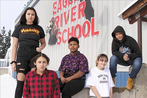 Two Eagle River School students headed to New Mexico with their photography class include, from left, Heather Atwin, eighth grade; Kaiden LaFromboise, 11th grade; Michael Bolen, ninth grade; Frankie Barnaby, 10th grade; Leighton Wise Spirit, eighth grade.