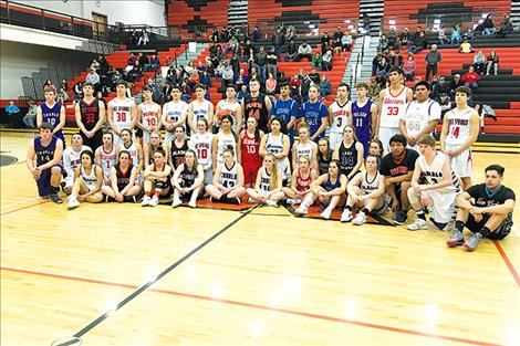 Outstanding athletes from area high schools joined forces for the 24th annual All-Star basketball game, held Thursday evening at the Ronan Event Center, top.