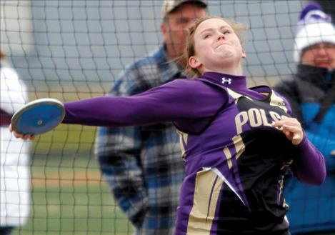 Lady Pirate Amanda Harrod winds up to throw the discus at the Lake County Invitational.