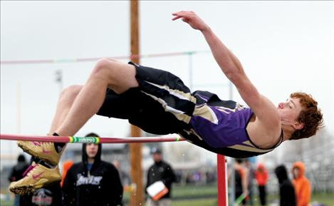 Jared Rubel clears the high jump at the Lake County Invitational.