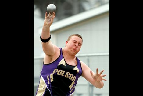 Senior Riley Sampson hurls the shot put during the Lake County IInvitational last month. Sampson was crowned the Northwestern A divisional champ in shot put last weekend with a winning toss of 53 feet, 7 inches.