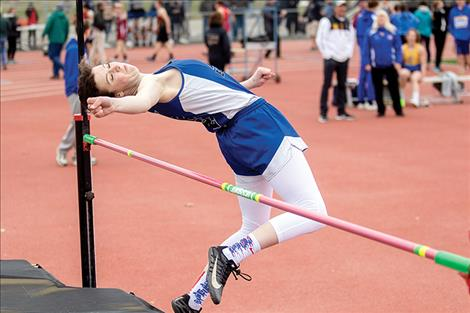 Mission Lady Bulldog  Afton Brander competes in  the high jump event.