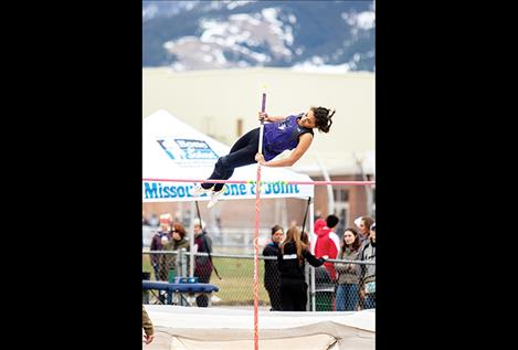 Charlo Lady Viking  Tyra Hammond competes  in the pole vault event.
