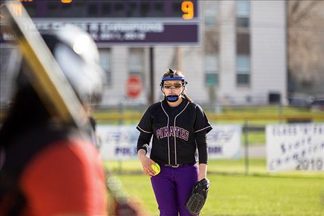Lady Pirate pitcher Lauren Vergeront stares down the batter.